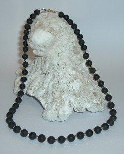 画像1: ブラックシリカ95%ネックレス6mm珠とK18・WG